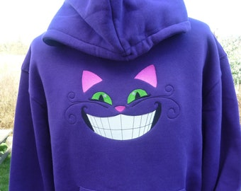 Cheshire Cat Hoodie Purple Hoodie Glow in the dark Hooded Sweatshirt Heavyweight Premium Alice Fantasy Magical Hoody Sweater Wonderland