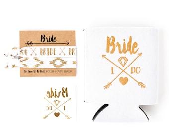 Bride Tribe Bachelorette Gift Set | Metallic Gold Tattoo, Hair Tie + Drink Cooler | White + Gold Boho Arrow Tribal Bachelorette Party Favors