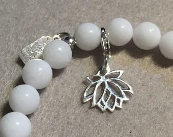 Silver charm for bracelet - lotus flower