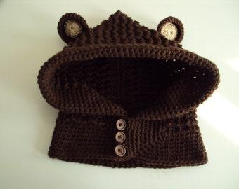 Hand Crochet Girl's Bear Hat, Cowl