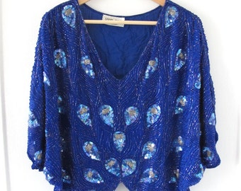 Vintage 100% Silk Blue Batwing Beaded Sequin Top - Size S/M