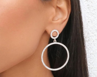 Crystal Circle Drop Earrings