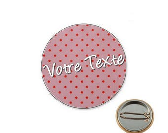 Dots pink personalized - 25mm button badge