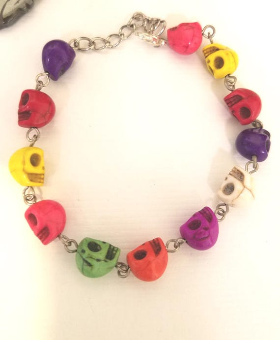 goth turquoise stone skull beaded chain bracelet multicolor day the dead handmade jewelry