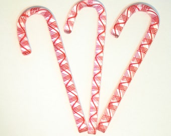 Handblown Art Glass Red Filigree  Glass Candy Canes