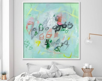 """Mint Print of Abstract Painting Large wall art up to 40x40 abstract art  """"Houses in Ponza 02"""" by Duealberi"""