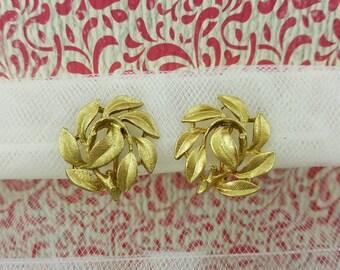 Napier Leaves  Clip Lever back   earrings  Gold  Modern Classic