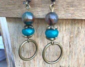 Opal and stone drop earrings