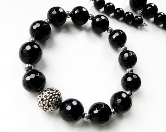 Black Onyx bracelet Sterling Silver jewellery Genuine stones 12 mm Hematite seeds Stretch bracelet Magic jewelry Available set Gift for her