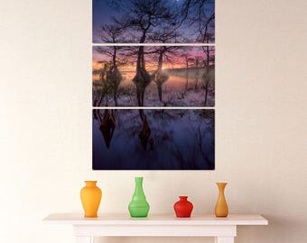 Magic Sunset Trees Triptych Metal Wall Art