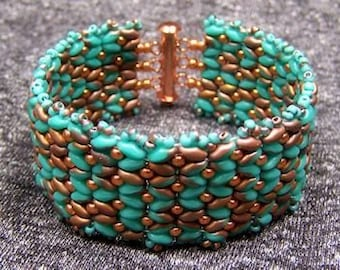 Turquoise superduo and bright Copper cuff bracelet, beaded cuff bracelet, Southwestern cuff bracelet, beaded bracelet