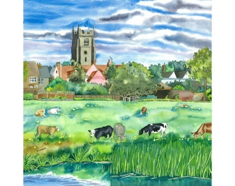English Landscape Limited Edition Print Suffolk Meadows  with Cattle