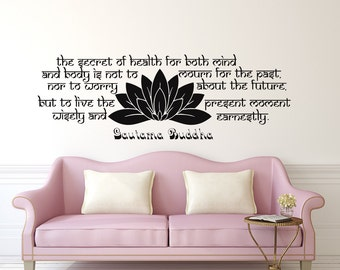 Nice Buddha Wall Decal Quote The Secret Of Health Vinyl Sticker Decals Quotes  Quote Decal Lotus Flower
