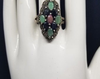 Vintage Sterling Silver Blue sapphire,ruby,Chrysoprase Marcasite ring