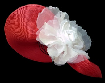 "Women's Kentucky Derby Hat, Spring Fashion Hat, Garden And Tea Party Hat In Red and White Is   - ""NOT for the SHY"""
