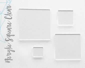 """100 Clear Acrylic SQUARE Blanks ( Select size )  1/8"""" or 1/16"""" Thick - laser cut With Polished Edges Plexiglass"""
