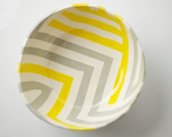 Grey & Yellow Zag Bowl