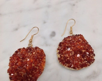 Rare and stunning XL Citrine druzy cushion dangle earrings