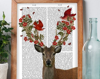Deer & Love Birds  Deer Print Deer illustration valentines gift for her love bird print cute gift for wife gift for girlfriend Romantic gift