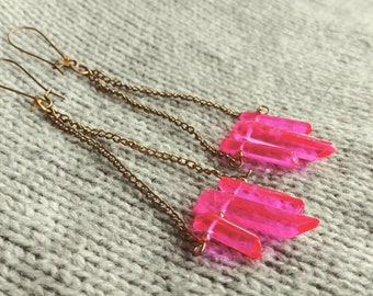 Hot Pink Quartz Point Chain Long Duster Dangle Earrings in Gold Brass