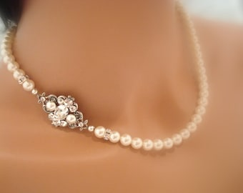 Bridal necklace, Bridal jewelry, Rose gold, Pearl necklace, Wedding necklace, Vintage style, Swarovski  necklace, Wedding jewelry, ASHLYN