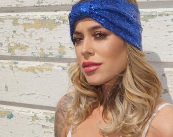 Glitter Blue Shiny Sequined Turban Festival Stretch Headband, festival headband, sequinned turban, blue sequinned, festival headwear