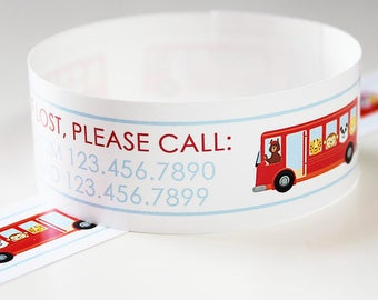 Custom Vinyl Wheels on the Bus ID Bracelets - Personalized ID Bands - #Kids #Travel #Safety #Medical