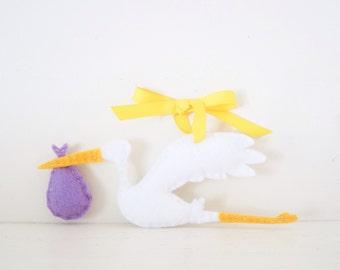 STORK - Girl's Stork ORNAMENT - Purple Baby Keepsake - Baby's First Christmas Ornament - Lavender Baby Shower Decor - Felt Stork Decoration