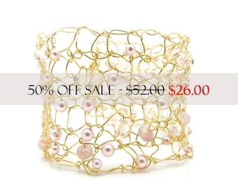 Wide Cuff, Gold Tone Bracelet, Knitted Wire Cuff, Beaded Bracelet, Swarovski Crystals, Pink Swarovski Pearls, Ready to Ship, by Durango Rose