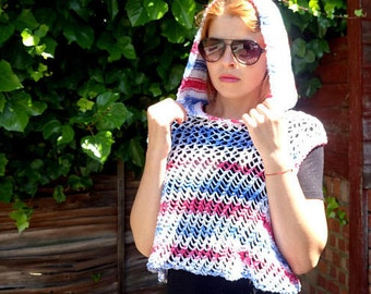 Free shipping/White,red and blue hooded summer top/Crochet top/knitting shirt/beech wear/handmade mercerised woman top