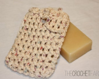 All Cotton Neutral Color Crocheted Soap Bag, Soap Saver, Pouch, Eco-friendly Cotton Yarn Soap Sack, Shower Bag