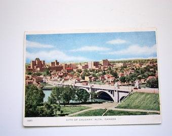 Calgary Alberta Postcard 1953 / Calgary Postcard / Calgary Folkard Postcard / early Calgary / vintage Calgary