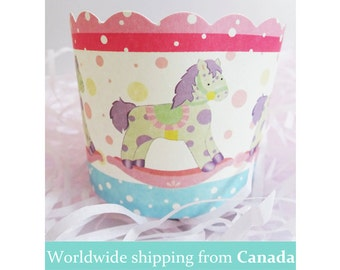 10 Large Cute Baby Rocking Horse Baking Cups for Cupcakes