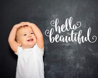 Hello Beautiful Decal Bathroom Mirror Decoration Vinyl Lettering for Home Laptop Wall Mirror Fun Flirty Script Style Vinyl Lettering