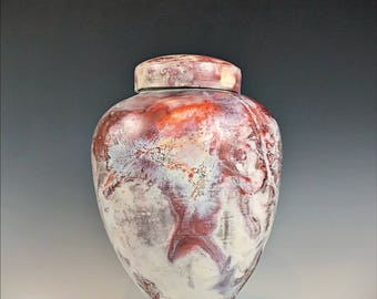 Ceramic Urn, Pet Urn. or Keepsake Urn Red  Ferric Chloride  Alternatively Fired Raku Clay for Cremation