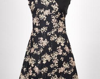 Crossover Dress in black sakura japanese fabric NOA