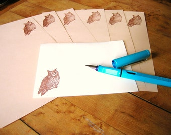 brown owl letter set stationery for writing wise friends and pen pals