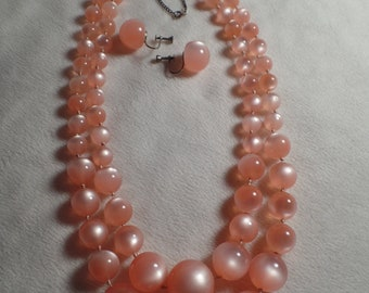 1950's Pink Moon-Glow Bead Set-Wonderful Color