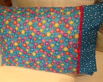 Pillowcase with pink orange and yellow flowers