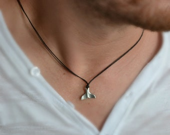 Whale tail necklace for men- men's necklace with a silver plated whale tail pendant and a black cord, gift for him, flipper charm