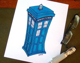 TARDIS Art Print - Doctor Who - fine art print on archival paper