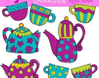 KPM  Purple tea party Digital Clip Art