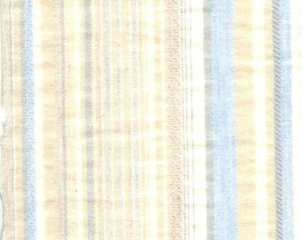 Beige and blue striped cotton fabric