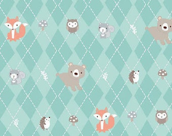 Little Forest - Animals in Argyle Turquoise 22893 Cotton Quilting Fabric by Half Yard- Quilt Bundle and Pattern in Bundle Section  - FWM