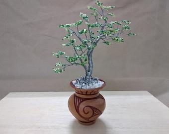 Wire Tree Handmade Beaded Bonsai Sculpture - Pelt style
