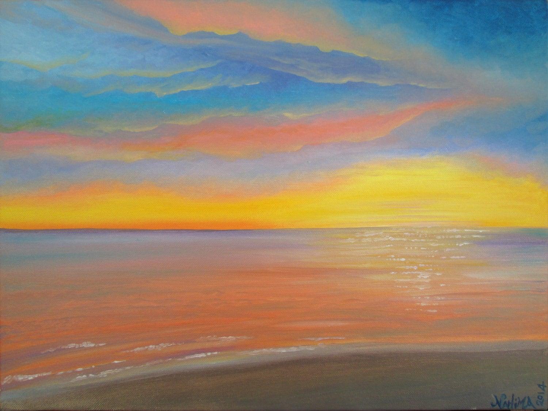 Tramonto sul mare dipinto originale olio su tela for Disegno paesaggio marino