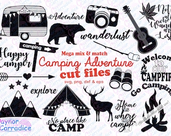 camping svg bundle camping svg happy camper cutting files adventure silhouettes camper dxf adventure svg caravan svg camping silhouettes