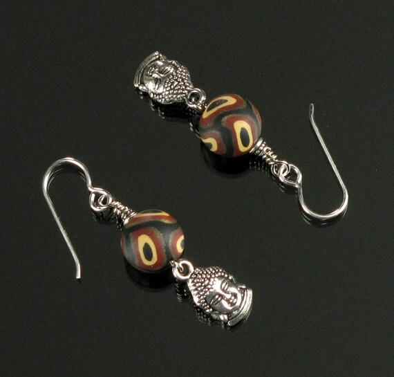 Silver Buddha Earrings, Rustic Boho Silver Earrings, Unique Yoga Jewelry, Buddhist Gift, Zen Jewelry, Unique Earrings Gift for Women, Mom