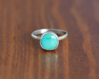 Carico Lake Turquoise Ring, Sterling Silver Ring - Size US 6.5