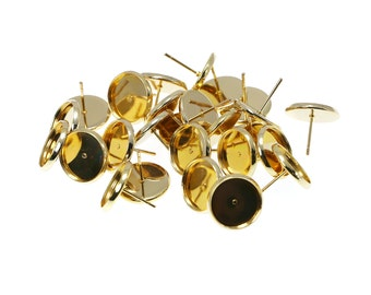 12mm Gold Tone Brass Earring Tray Settings, Earring Backs INCLUDED, Very beautiful in person